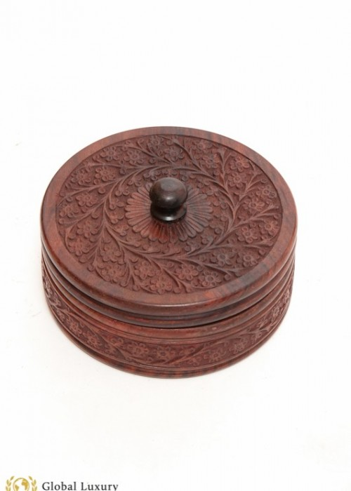 INDIAN HAND CARVED ROSE WOOD BOX (JEWLERRY, TRINKIT)