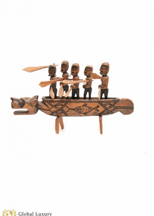 AFRICAN TRIBAL BOATMAN (VINTAGE WOOD STRUCTURE)