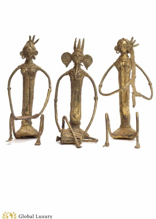 MYTHICAL TRIBAL MUSICIAN FIGURINES SET OF 3 - (BRASS/BRONZE)